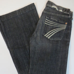 7 For all Mandkind Black Dojo Wide Leg Jeans
